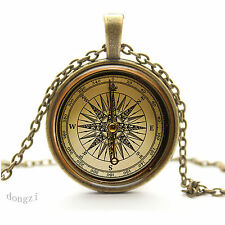 Old Fashioned Compass Pendant Necklace - Vintage Antique Style Picture Jewelry