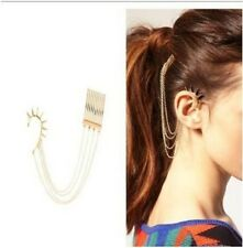 Fashion Gold Chain Spinous Ear Clip  Link To Hair Comb Cuff Earring