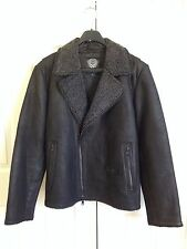 VINCE CAMUTO Leather Moto Jacket with Faux Shearling Lining, Men's Size XL Black