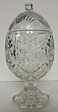 Vintage Cut Glass CANDY DISH with Lid Crystal Egg Shape Diamond Fan Pattern