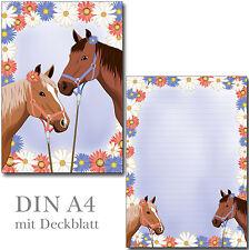 Schreibblock zwei Pferde liniert A4 25 Blatt Briefpapier Motivpapier Pferd Pony