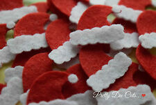 Felt Santa Hats. Pack of 10 Christmas Craft Embellishments