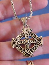 """Stainless Steel CELTIC Cross with 23"""" ROPE Chain Silver Black Religious Irish"""