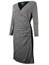 [29 88-1]Lauren Ralph Lauren Houndstooth-Print Faux-Wrap Dress Black multi 16