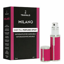 Travalo Milano – Hot Pink rose – Refill Perfume Atomizer – luxurious leatherette