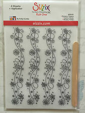 NEW Sizzix Rub Ons - Borders, Flowers - 655081 - 2x sheets of White, 2x black