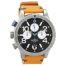 Nixon 48-20 Vhronograph Black Dial Tan Leather Mens Watch A3631602