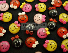 Free Ship - 28pcs Happy Smiling Smiley Face Cabochons Flat back Deco Glue F1307A
