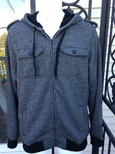 Mens Sz L Tony Hawk Jacket Hoodie Sweater Faux Fur Lining Heather Gray Black EUC