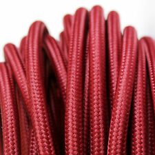 BURGUNDY vintage style textile fabric electrical cord cloth cable 3 core