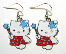 #11762R Red Hello Kitty Fairy Dangle Enamel Painted Dangle Charm Earrings