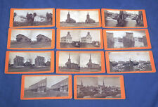 11 Antique Photo Stereoview Cards Trumansburg NY Main St. Bank Church Mill Pond