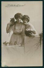 Edwardian Lady Easter Egg Fantasy Chick original vintage 1910s photo postcard