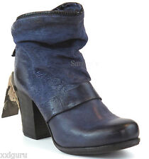AIRSTEP A.S.98 Stiefelette 41 LEDER Boots Schuh Blau Used Antik Stiefel ItalyNEU