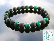 Green Tigers Eye/Onyx Matt Natural Gemstone Bracelet Elasticated 7-8'' Healing