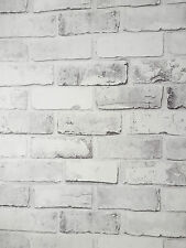 Stunning Whitewashed Wall Rustic White Brick Feature Wallpaper