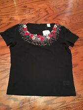 New/No Label ESCADA Very Unique Black Blouse/Top HAND Embroidered Size S/ M