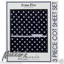 Bubba Blue POLKA DOTS Premium Cotton 3 Piece Cot Sheet Set - Navy