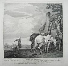 Petite vue D`Hollande Pferd Bauer alter seltener  Kupferstich von Le Bas 1760