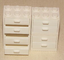 LEGO LOT OF 2 NEW WHITE CUPBOARD DRAWER MINIFIG CONTAINER SINK KITCHEN PIECES