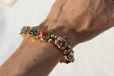 Antique Vintage Victorian 14K Gold 11 Slide Bracelet Multi-Stone snake crab more