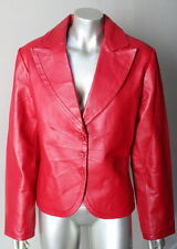 Retro Vintage Plunging Red Real Leather Cinched Waist Jacket Coat Blazer XL
