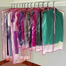 13 Clear Garment Suit Dress Bags Zippers Clothes Closet Storage Protect Covers