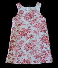 Girls KELLYS KIDS Red & Cream Floral Toile Shift Dress 5 Linen Outfit Boutique