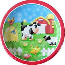 BARNYARD On the Farm SMALL PAPER PLATES (8) ~ Birthday Party Supplies Cake Cow