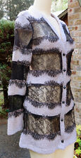 ALEXANDER McQUEEN Beige Knit & Black Lace Long, Long Sleeve Cardigan Sweater! S
