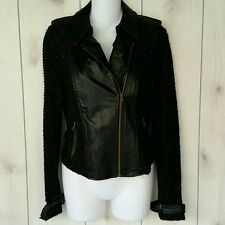 Miss Me Sweater Jacket Knit Sleeves Faux Leather Accents Lightweight Sz S NWT
