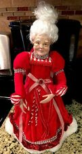 """Posable Mrs Claus Ornament Christmas Peppermint 14"""" Mrs Claus Figure Wreath Swag"""