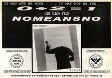 26/10/91 Pgn18 Advert: 0 + 2 = 1 The New Album From Nomeansno Out Now 7x11""