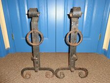 Large Pair of Vintage Arts & Crafts Handmade Wrought Iron Andirons