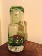 Elegant Krosno Poland crystal bright green art glass tumble up decanter