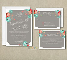 100 Personalized Floral Rustic Wedding Invitations Set With Envelopes