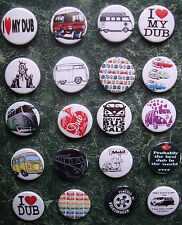 "20 x VW CAMPERVAN SET 3 COMBO BADGES 25mm 1"" PIN BUTTON VOLKSWAGEN VAN RETRO DUB"