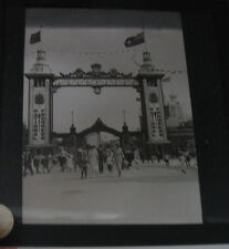 Old Canadian National Exhibition Glass slide magic lantern Entrance people 1920s