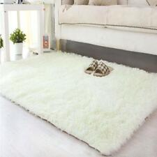 New Fluffy Living Room Carpet Shaggy Soft Area Rug Rectangle Floor Mat White AD