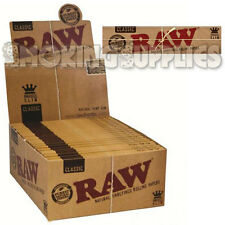 50 RAW Classic Kingsize Slim Natural Unbleached Rolling Papers Full Box