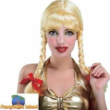 BAVARIAN BEER GIRL SCHOOL GIRL PLAITED WIG Ladies Womens Fancy Dress Costume