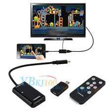 MHL Micro USB to HDMI HDTV Adapter + Remote Control For Samsung Galaxy S5 HTC