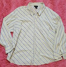 Lane Bryant 26/28 Striped Shirt Button Front Canary Yellow Long Sleeve Career