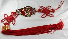 Vtg Chinese Red Cloisonne Oriental Wall Decor Amulet Charm Tassel Flowers Birds