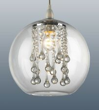 MANHATTAN CLEAR ACRYLIC GLOBE WITH DANGLING PRISMS LAMPSHADE BRAND NEW BOXED