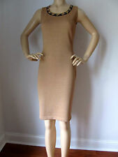 NEW ST JOHN KNIT SZ 4 WOMENS DRESS TAN BISCUIT & BLACK SHEATH SANTANA WOOL RAYON