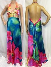 Sexy Satiny Beaded Tie Dye Party Prom Beach Wedding Dress Gown Amazing Colors S