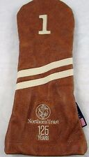 Stitch Golf Club Leather Driver Headcover Victory Stripe Cowhide Brown D0099