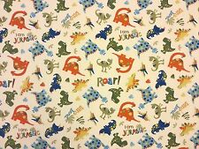 JURASSIC DINOSAUR A21 100% COTTON CURTAIN DRESSMAKING CHILDRENS FABRIC T-REX