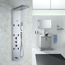 New Nickel Brushed Thermostatic Shower Panel 3 Handles Tub Filler W/ Body Jets